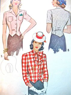 1940s McCall's 4820 Vintage Sewing Blouse Pattern by Fancywork