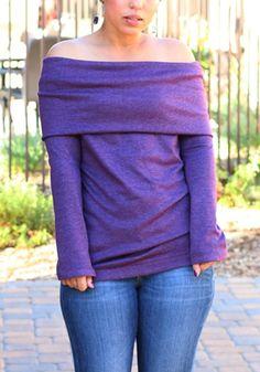 Purple Plain Double-deck Boat Neck Long Sleeve T-Shirt