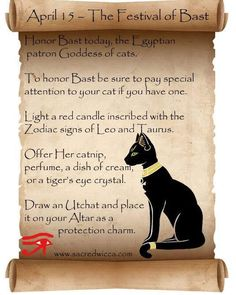 Festival of Bast Bast Goddess, Egyptian Cat Goddess, Egyptian Mythology, Wiccan Witch, Wiccan Spells, Witchcraft, Wiccan Beliefs, Witch Spell Book, Gods And Goddesses