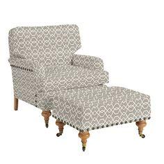 Travis Club Chair & Ottoman with Antique Brass Nailheads