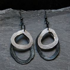 Black and white earrings Tribal primitive earrings Big Bold statement earrings Hammered Artisan Rustic jewelry Chunky hoops 1117 by StudioDjewelry