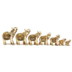 6Pcs/set Gold Buddha Elephant Statue Ornament Figurine Ornaments Resin Crafts For Fortune Wealth Home Office Decor Lucky Gifts