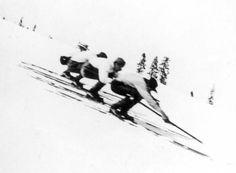 vintage skiers  1874...12 foot skis!