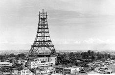 Tokyo Tower under construction.