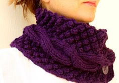 Purple Neck Warmer Chunky Scarf Knit Cowl Plum Aubergine Cable With Buttons Knitting For Kids, Loom Knitting, Knitting Socks, Hand Knitting, Knitted Hats, Knitting Patterns, Crochet Patterns, Annie's Crochet, Crochet Shawl