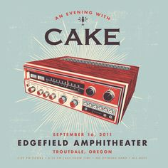 New gig poster release.  I couldn't be more excited to continue to work with CAKE. This is also a special release for me as it's the first print run I've done for a concert not in Indiana.    19″ x 19″ Hand-Pulled, 4-color print on French 100 lb. POPTONE Sno-Cone paper. Signed & numbered edition of 250.