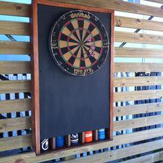 Dart board and stubby holder dispenser