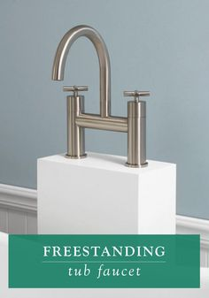 A sleek curving neck and tall resin tower make this freestanding tub faucet a striking addition to your modern master bathroom. The faucet bridge and cross handles add to its contemporary appeal.