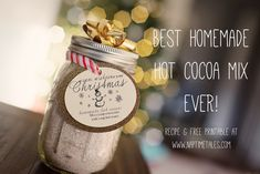 Homemade Hot Cocoa Gift Idea. This recipe makes a TON of powdered hot chocolate. This makes a great teacher's gift, neighbor gift, hair stylist gift...etc. #diyhotchocolate #diygifts #teachergift #christmasgift #giftforhairstylist