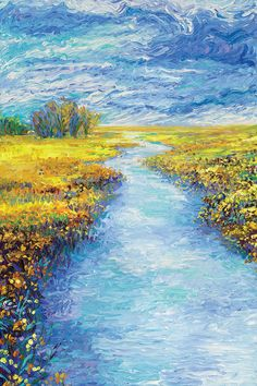Wyoming Triptych Panel II by Iris Scott Canvas Print, beautiful impressionist style finger painting. River and wildflowers. Arte Van Gogh, Van Gogh Art, Landscape Art, Landscape Paintings, Watercolor Paintings, Sky Painting, Canvas Artwork, Canvas Art Prints, Impressionist Art