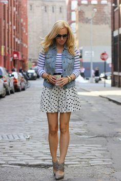 Vest jeans + stripes + polka dots = <3