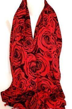 Red Rose Print Pashmina Wrap Scarf Stole Shawl Hijab Scarves