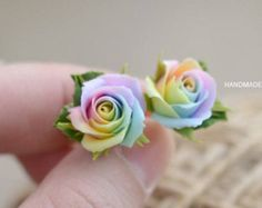 Pastel rainbow stud earrings, Pastel roses earrings, polymer clay, pale colors, tie dye wedding, fimo clay, Fimo flowers