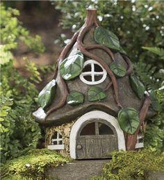 "Miniature Fairy Garden Pixie House.  8""L x 7-1/4""W x 9-1/2""H.  $25"