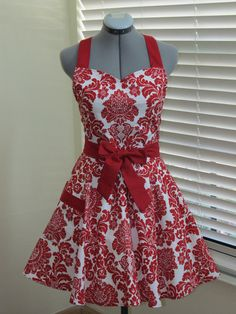 Red Damask Full Apron -Vintage Full of Flounce- Sexy Hostess-Full of Twirl Flounce