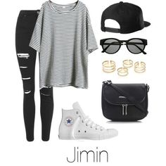 A fashion look from December 2015 featuring Topshop jeans, Converse sneakers and Wallis shoulder bags. Browse and shop related looks. Korean Fashion Kpop, Kpop Fashion Outfits, Mode Outfits, Emo Fashion, Street Fashion, Fashion Tips, Cute Casual Outfits, Stylish Outfits, Bts Clothing