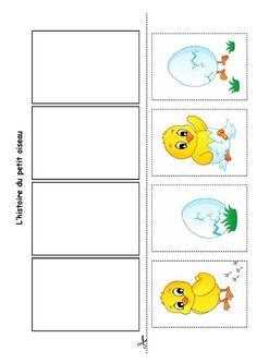 L'histoire du petit oiseau, images à replacer en ordre.