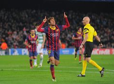Neymar of FC Barcelona celebrates after scoring his team's 4th goal during the UEFA Champions League, Group H match between FC Barcelona and Celtic FC at the Camp Nou Stadium on December 11, 2013 in Barcelona, Catalonia.