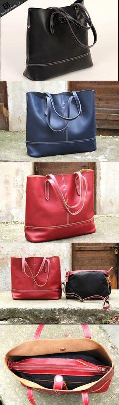 Handmade vintage black leather normal tote bag shoulder bag handbag for women