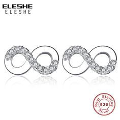 7babbbbcb ELESHE 925 Sterling Silver Infinity Earrings Studs Simple Brincos Lucky  Number Figure Eight Stud Earring Mother's