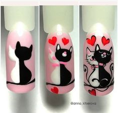 20 Ridiculously Cute Valentine's Day Nail Art Designs - Gif Life Nail Art Designs Videos, Nail Art Videos, Nail Polish Designs, Nail Designs, Cat Nail Art, Animal Nail Art, Cat Nails, Nail Art Coeur, Nailart Rose