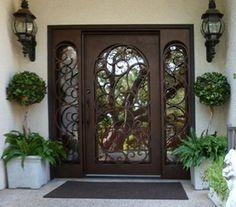 Wooden Main Door Design, Front Door Design, House Doors, House Entrance, Exterior Doors With Sidelights, Iron Front Door, House Gate Design, Wrought Iron Doors, Tuscan House