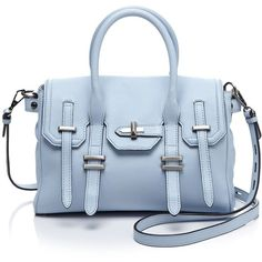 Rebecca Minkoff Satchel ($221) ❤ liked on Polyvore featuring bags, handbags, purses, soft blue, blue satchel handbags, blue leather handbag, blue handbags, man bag and leather purse