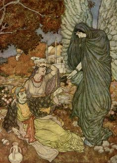 Edmund Dulac(1882-1953):Rubaiyat/Angel of the drink of Darkness 1909 エドマンド・デュラック:ルバイヤート/闇のドリンクの天使 黒衣の女性に注目
