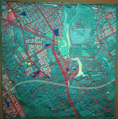 map art quilt of Wilanow (Warsaw) by Anna Sławińska