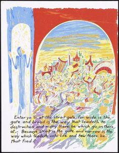 Entrai pela porta estreita, porque larga é a porta e amplo é o caminho ..., numeradas página 68 e quarta página do fólio XVII no livro provérbios desacoplado de Jesus (Milwaukee: chirho Press, Marquette University, 1956)  Artista: André Girard Data: 1956 Mídia:  Cor Serigrafia  Dimensões:  Folha: 330 x 255 mm (13 x 10 1/16 pol)  Presente do artista e da Fundação Margaret Graça Boegner