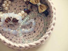 Free Handmade Crochet Basket Pattern made from tshirt yarn. buy t-shirt yarn at OfUsualtees.etsy.com