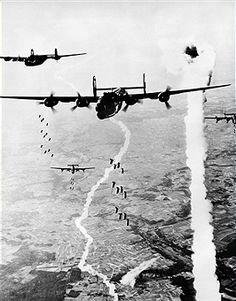 Allied 'B 24 Liberator' bombers at an air raid on German positions in Normandy- June / July 1944 - pin by Paolo Marzioli