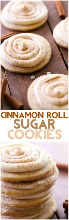 Cinnamon Roll Sugar Cookies Recipe - Chef in Training Cinnamon Roll Sugar Cookies. These cookies taste JUST like a cinnamon roll! The cookies are soft and chewy and the frosting is FABULOUS! Love this fall dessert recipe! Fall Dessert Recipes, Fall Desserts, Just Desserts, Delicious Desserts, Fall Recipes, Rolled Sugar Cookie Recipe, Sugar Cookies Recipe, Yummy Cookies, Cinnamon Cookies