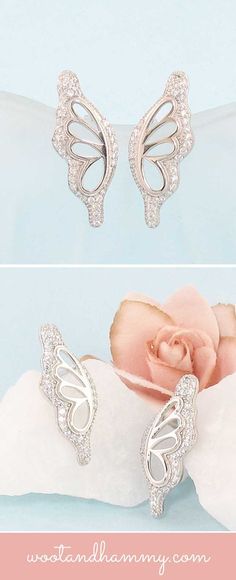Luminous crystals outline the edges of transparent wings in these jewels that seem to have from a fairytale.  With a dramatic mix of textures, shapes and brilliant sparkle, these earrings transform your earlobes into the dramatic wings of a butterfly or fairy. Butterfly wing earrings in sterling silver
