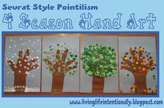 We traced hand to make the tree trunk. Then labeled our four season trees. As we had just finished studying famous artist Seurat we decided to use his Pointillism style to make our trees.