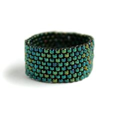 Wide ring for women Teal beaded ring Seed bead jewelry Womens