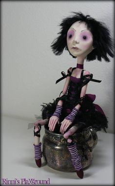 OOAK art doll, Goth Ballerina-Belladonna
