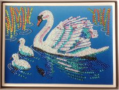 Sequin Art swan and cygnet with beads