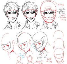 drawing tutorial - wearing a helmet - drawing reference Manga Drawing, Figure Drawing, Manga Art, Drawing Sketches, Art Drawings, Anatomy Drawing, Sketching, Drawing Tutorials, Drawing Techniques