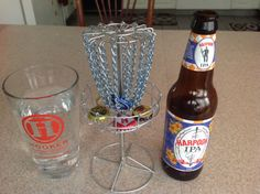 Micro mini bottle cap disc golf goal