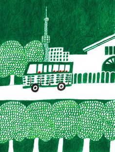 love this hue of green Landscape Illustration, Graphic Design Illustration, Illustration Art, Illustration Inspiration, Magazines For Kids, Color Pencil Art, Illustrations And Posters, Cool Drawings, Illustrators