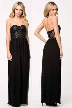 Cheap Black Bustier Party Cocktail Evening Maxi Gown online - All Products,Fashion Dresses,Evening Dresses Elegant Maxi Dress, Chiffon Dress Long, Strapless Dress Formal, Sexy Gown, Black Bustier, Long Evening Gowns, Maxi Gowns, Cheap Dresses, Lace Dresses