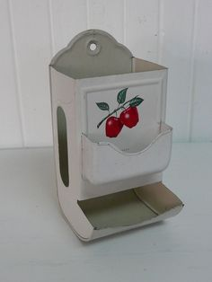 Vintage Tin Metal Match Box Holder White with by NewLIfeVintageRVs, $34.00