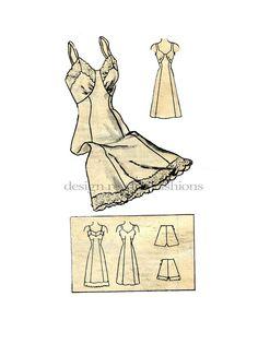 1940s Lingerie Full Slip & Panties Pattern by DesignRewindFashions, $26.00