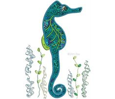 Seahorse in the Seaweed  Machine Embroidery Design by 2artzee, $1.99