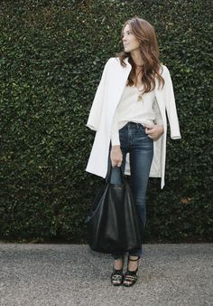 Summer : white casual tee, structured long jacket, darkwash jeans, and strappy heels