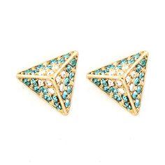 bejeweled teal pyramid post earrings
