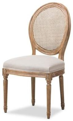 Baxton Studio Adelia French Vintage Cottage Weathered Oak Finish Wood and Beige Fabric Upholstered Dining Side Chair with Round Cane Back French Dining Chairs, Solid Wood Dining Chairs, Upholstered Dining Chairs, Dining Chair Set, Dining Room Chairs, Office Chairs, Lounge Chairs, Ikea Dining, Rattan Chairs
