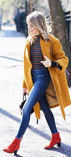 #winter #outfits yellow coat