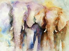 ARTFINDER: Peas in a pod by Arti Chauhan - A new watercolor painting depicting two young elephants walking together.Elephants are known to be gentle animals with a deep sense of responsibility and com...